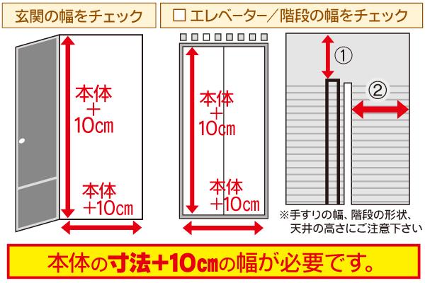 設置場所は事前に確認しよう 搬入経路は本体より10cm広いスペースが必要